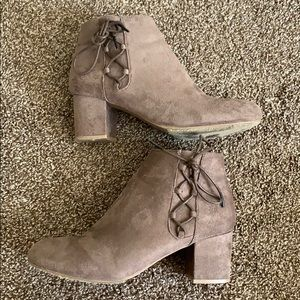 Booties, tie up the side.